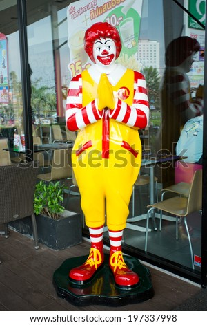 SURATTHANI, THAILAND - JUNE 7: Mascot of a McDonald's Restaurant on June 7, 2014 in Suratthani, Thailand. It is the world's largest chain of hamburger fast food restaurants. - stock photo