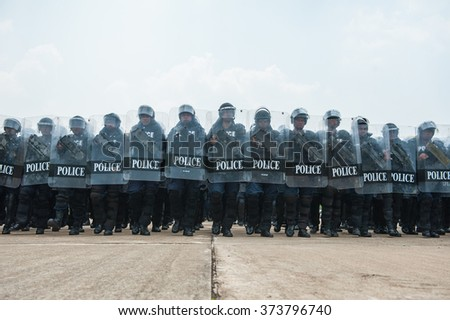 SURATTHANI THAILAND- Sep. 21: Polices practice riot controlling using a shield and a truncheon training tactical differentat police training academy.Sep 21, 2015 in suratthani province,Thailand  - stock photo