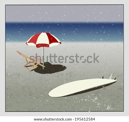 surf, chaise longues and sunshades on the beach in vintage style . - stock photo