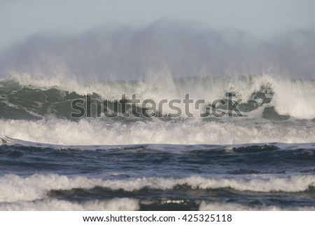 Surf crashing on Morro Beach California - stock photo