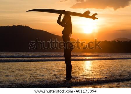 surf girl - stock photo