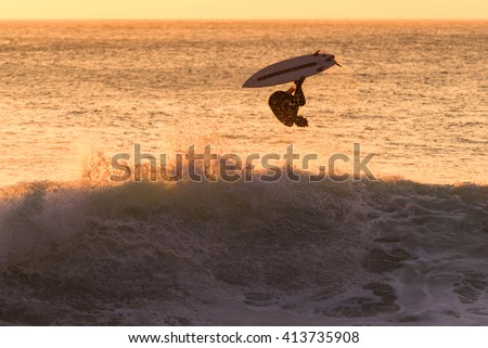 Surf in La Herradura, Lima, Peru. - stock photo