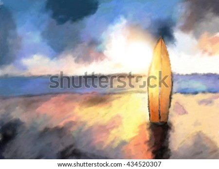 surf on the ocean beach, dramatic sunset colors, watercolor painted illustration