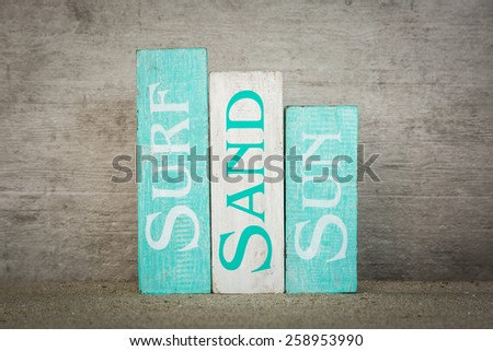 Surf sand sun summer wooden decorative blocks - stock photo