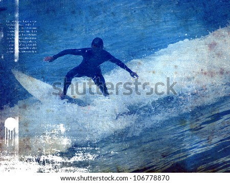 surf vintage poster with rider jumping - stock photo