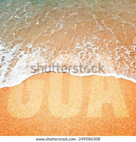 Surf wave on a sea beach of Goa - stock photo