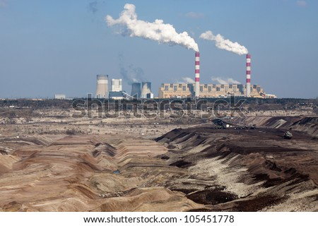 Surface coal mining and power staion in Belchatow, Poland - stock photo