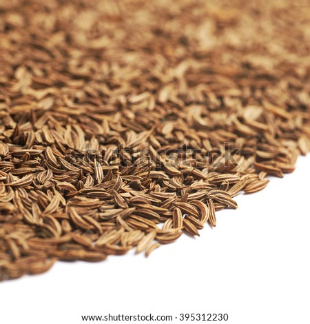 Surface covered with cumin seeds isolated over the white background as a copyspace backdrop composition