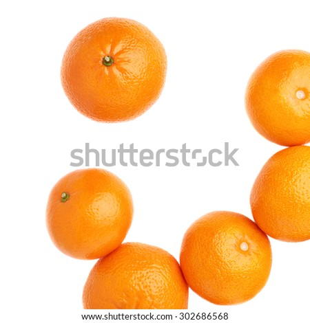 Surface covered with multiple orange ripe fresh juicy tangerines, composition isolated over the white background, top view - stock photo