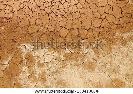 Surface of a grungy cracking dried mud floor.  - stock photo