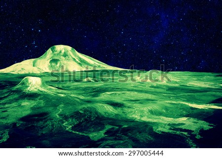 Surface of an Alien World - Elements of this Image Furnished by NASA - stock photo