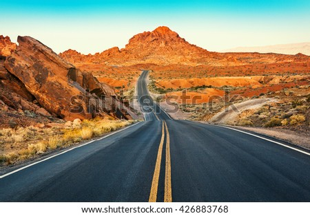 Surface of Driveway, Valley of Fire State Park, Nevada, USA - stock photo