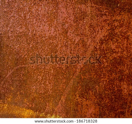 surface of old rusty metal sheet coated with corrosion - stock photo