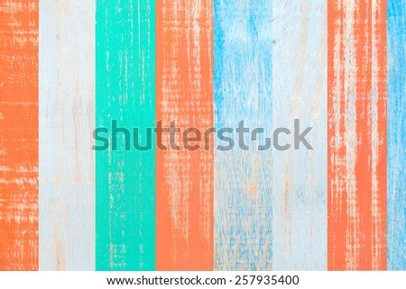 Surface of old wood Paint , Colorful of wood paint, for background - stock photo