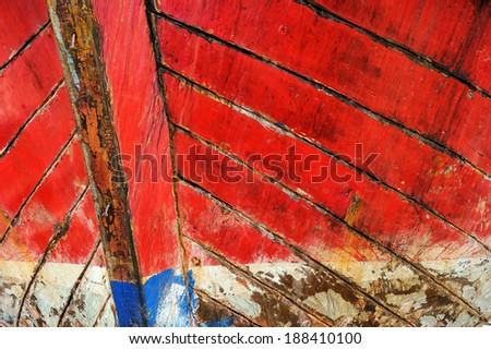 Surface of old wooden boat. - stock photo