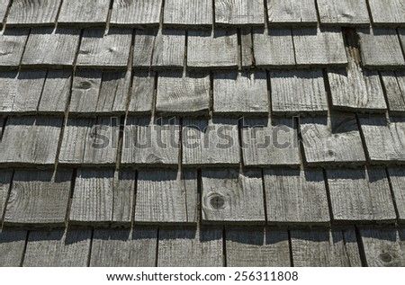 Surface of old wooden roof. - stock photo