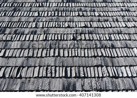 Surface of old wooden roof.