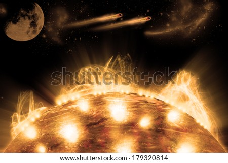 Surface of planet, digital retouch. - stock photo