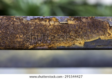 surface of the damaged sheet metal rust