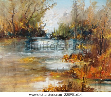 Surface of the lake in the forest, oil painting                                - stock photo