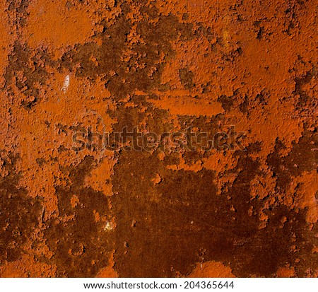 surface of the metal sheet coated with old paint and rust - stock photo