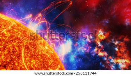 Surface of the sun with energy explosions - stock photo