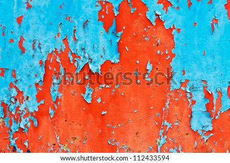Surface peeling paint peeling off the blue and red - stock photo
