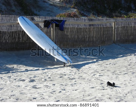 surfboard and short wetsuit on the beach