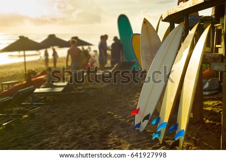Surfboards for rent on Bali beach at sunset