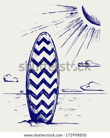 Surfboards on a beach. Doodle style. Raster version - stock photo