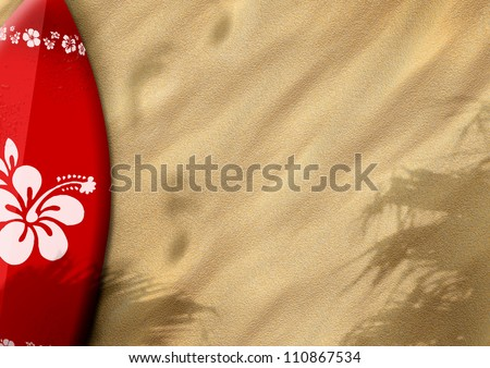 surfboards on sand color background with space - stock photo
