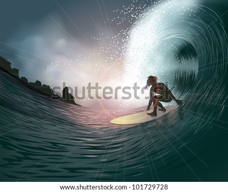 surfer and wave at sunset - stock photo