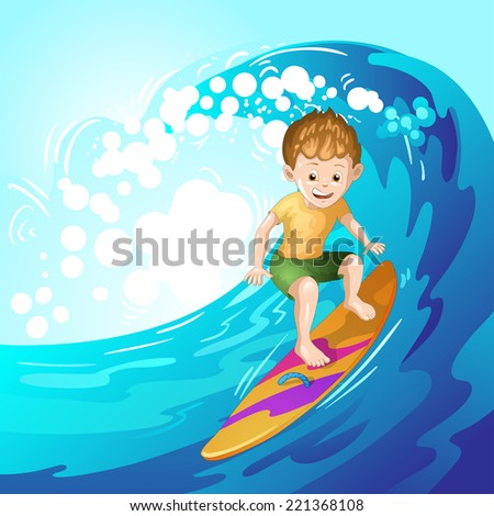 Surfer catching waves - stock photo