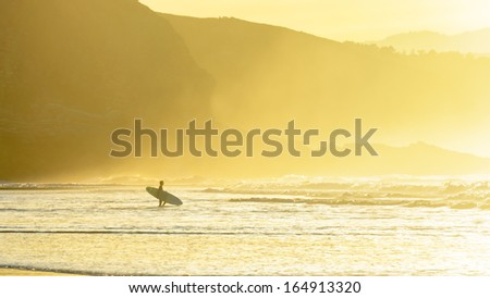 surfer entering water at sunset with sea mist - stock photo