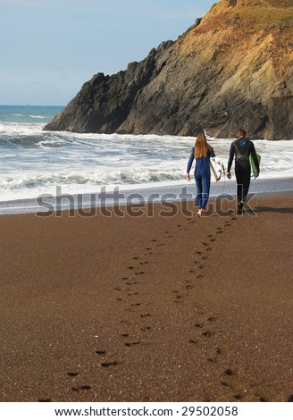 Surfer Footprints in Sands