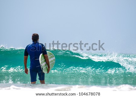 Surfer in New Zealand - stock photo