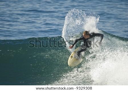 Surfer in Windansea, La Jolla, California - stock photo