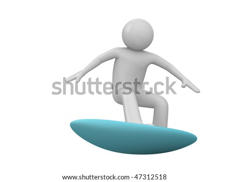 Surfer isolated (3d isolated characters on white background, sports series) - stock photo