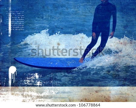 surfer riding his long table - stock photo