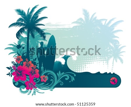 Surfer with surfboard on a tropical coast - stock photo