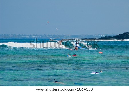 Surfers and snorkelers at the beach, Hawaii Islands