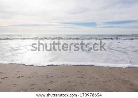 Surfers Beach in El Granada on sunny day in January. - stock photo