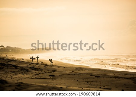 Surfers in the dawn at Playa Jaco, Costa Rica - stock photo