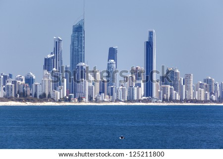 Surfers Paradise in the distance - stock photo