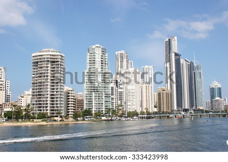Surfers Paradise modern commercial and residential buildings viewed from Nerang River  - stock photo