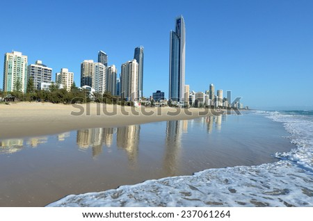 SURFERS PARADISE - NOV 08 2014 Surfers Paradise skyline.It one of Australia's iconic coastal tourist destinations, drawing 10 million tourists every year from all over the world. - stock photo