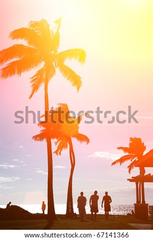 Surfers silhouettes walking under palm trees at beautiful tropical beach in Hawaii - stock photo