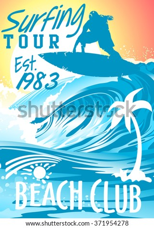 Surfing Beach Club with surfer on wave .