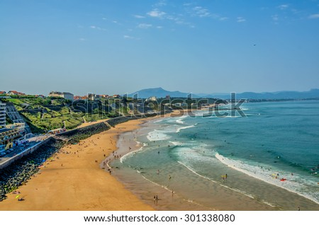 Surfing beach in Biarritz. - stock photo