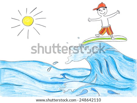 Surfing boy with wave. Child's drawing. - stock photo